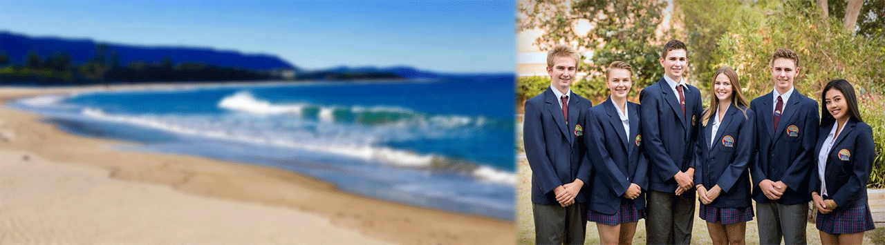 Collage of beach and picture of school captains